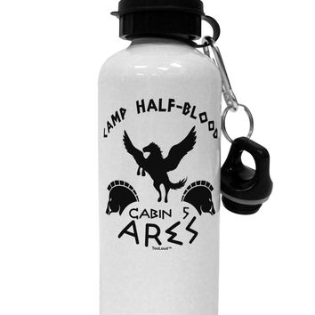Camp Half Blood Cabin 5 Ares Aluminum 600ml Water Bottle by TooLoud