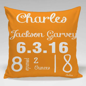 Personalized Baby Birth Announcement Pillow- Nursing/ Baby