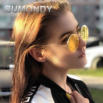 SUMONDY Vintage Round Sunglasses Men Women Steampunk Sun Glasses Brand Designer Mirror Lens UV400 Sun Blinkers 2018 New SU07