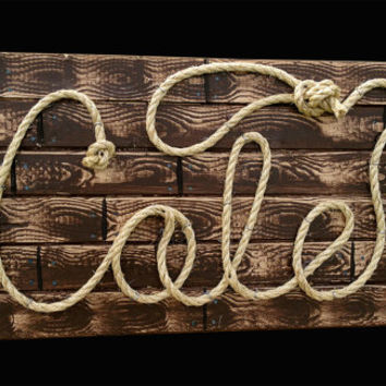 "COLE : 27"" Western Rope Name Sign Cowboy Theme Room Nursery- Brown Wood Grain Finish- (001)"