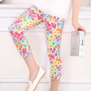 Summer Floral Leggings Calf Length