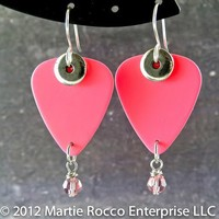 Breast Cancer Awareness pink dangle guitar pick earrings. BCA6