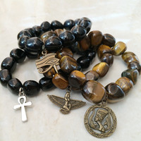 Egyptian Unisex Gemstone Bracelet - Tiger Eye or Obsidian - Charm: Ankh Cross, Eye of Ra, Horus, Isis, Nefertiti, Men's Jewelry,