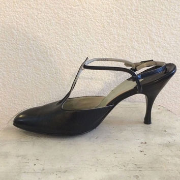 Vintage 50s I. Miller Black Leather High Heels T Strap Open Back Shoe 8.5N