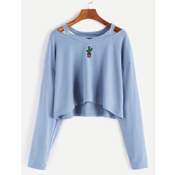 Off Shoulder Cactus Sweater