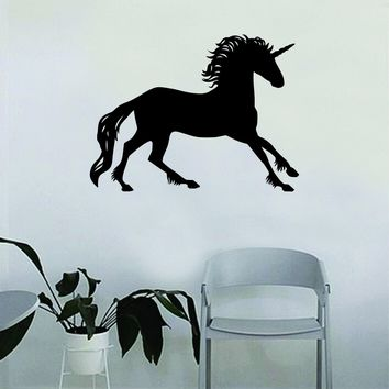 Unicorn V6 Silhouette Wall Decal Quote Home Room Decor Decoration Art Vinyl Sticker Inspirational Funny Magical Horse Teen Nursery Baby Kids