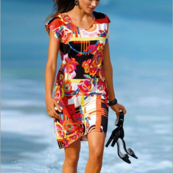 Large Size Print Beach Dress B0015119