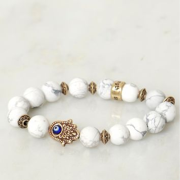 Marble Beaded Hamsa Bracelet White