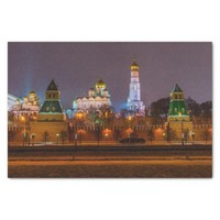 Moscow Kremlin cathedrals at night Tissue Paper