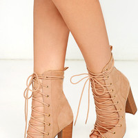 Sierra Beige Lace-Up High Heel Booties
