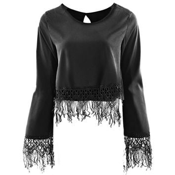 Fashionable Ground Collar Long Sleeve Tassels Midriff Hollow Back Women's Chiffon Shirt