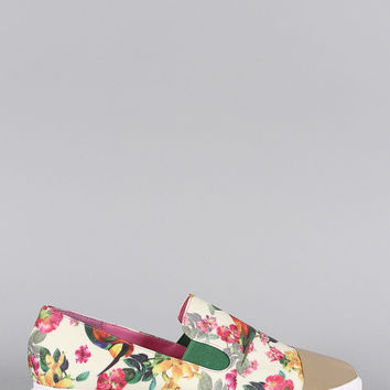 Priveleged Floral Toe Cap Pointy Toe Loafer Flat
