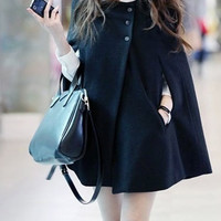 Black Blends Women Fashion Round Neck New Korean Style Button Casual Cloak Coat One Size FZ72933-39b