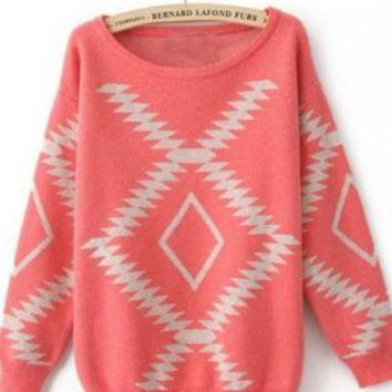 Pink Round Neck Geometric Print Pullovers Sweater