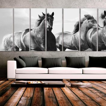 "XXLARGE 30""x 96"" 8 Panels Art Canvas Print beautiful Horses Wall Home Office Decor interior (Included framed 1.5"" depth)"