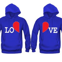 LOVE and Half Hearts Awesome Gift for the cutest Lovers Unisex Couple Matching Hoodies