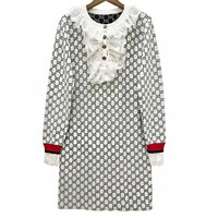 GUCCI Autumn Winter Fashionable Women Casual GG Letter Jacquard Long Sleeve Dress White