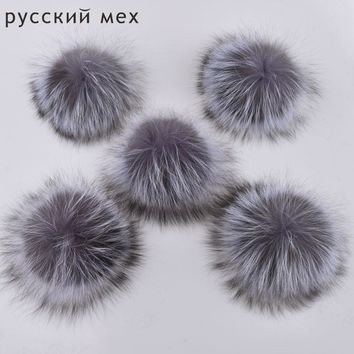 2pcs/ lot DIY 15cm Big Silver Fox Fur pompoms fur balls for knitted hat cap beanies and keychain and scarf real fur pom poms