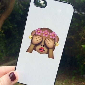 Iphone 4 4S Phone Case Emoji Icons Monkey Print Hipster Phone Cover
