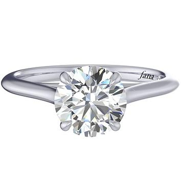Fana Round Cut Four Prong Solitaire Diamond Engagement Ring