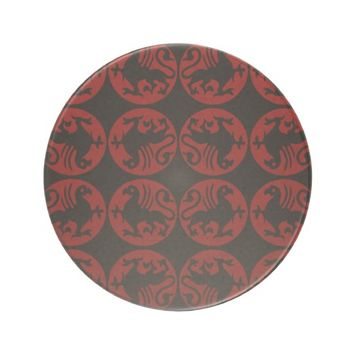 Black and Red Gryphon Silhouettes Sandstone Coaster