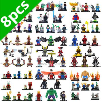 SY Super Hero 8pcs/lot DC Deathstroke Harley Quinn Red Arrow Sinestro Iron Man Batman Building Blocks Sets Model Bricks Toys