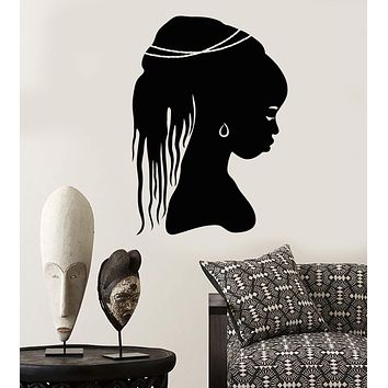 Vinyl Wall Decal African Girl Head Hairstyle Native Black Woman Dreadlocks Stickers Unique Gift (2071ig)