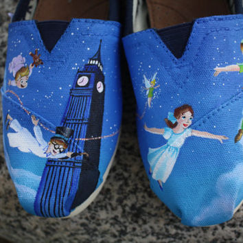 Peter pan original custom acrylic painting for toms canvas shoes