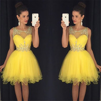 Yellow Homecoming Dress, Tulle Homecoming Dresses