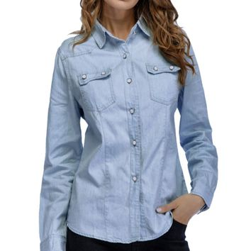 Women Denim Shirt Fashion Style Long Sleeve Casual