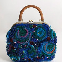 "Crochet Bag ""Valerie"" female blue with green"