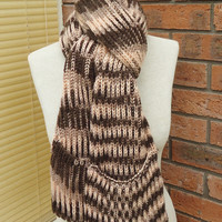 Scarf with Pockets, Extra Long Scarf, Unisex Scarf With Pockets, Striped Scarf