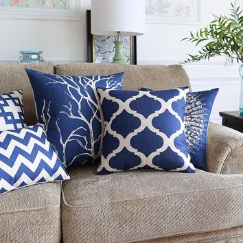 Drop Ship Blue Chevron Ocean Starfish Pillow Cover Coral Cushion Cover Throw Pillow Home Decor Pillowcase Decorative Pillowsham