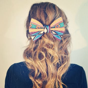 Aztec/Tribal Print Hair Bow by Dimeycakes on Etsy