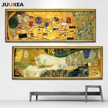 Classic Artist Gustav Klimt kiss Abstract Art Collection Canvas Print Painting Poster, Wall Pictures For Living Room Home Decor