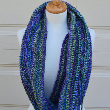 Crochet Multi-Way Cowl - Purple Striped