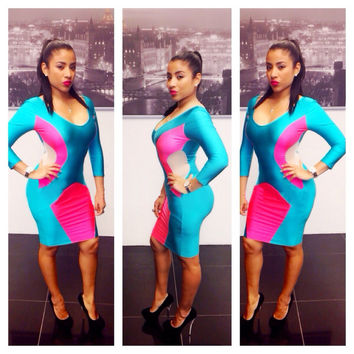 Pink and Blue Side Cut-Out Bodycon Dress