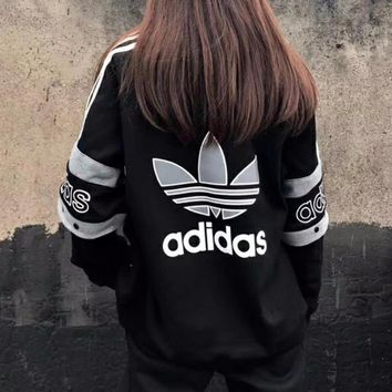 Adidas Retro Stitching Zipper Jacket Coat
