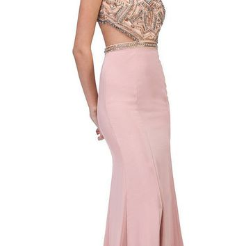Blush Beaded Cut Out Bodice Mermaid Red Carpet Gown