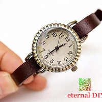 Tan vintage watches, fashion watches of carve patterns or designs on woodwork, small dial watch, cute girls leather watch