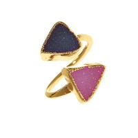 Charlene K Double Druzy Adjustable Ring
