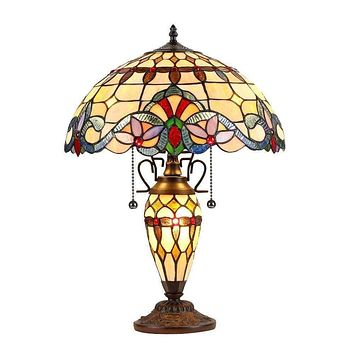"""Cooper, Tiffany-Style 3 Light Victorian Double Lit Table Lamp 16"""" Shade"""