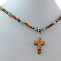 Dalmatian Jasper Stone Cross Onyx Necklace, Natural Stone Cross Pendant Necklace