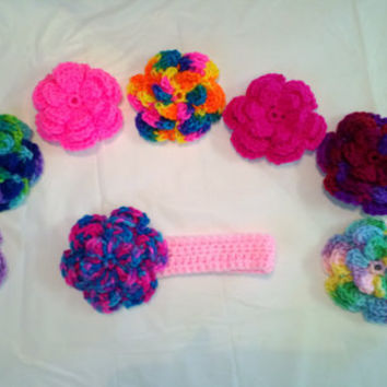 Crochet Headband with flower You pick colors and size