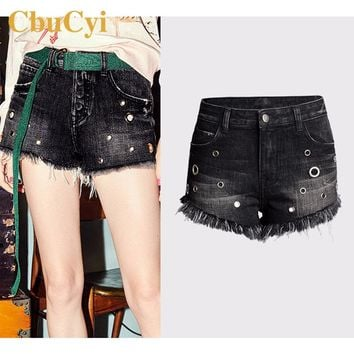 CbuCyi Summer Women's Clothing Black Denim Shorts Plus Size High Waist Bleached Tassels Short Jeans Girls Inelastic Denim Shorts