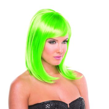 Green Solid Color Doll Bangs Wig
