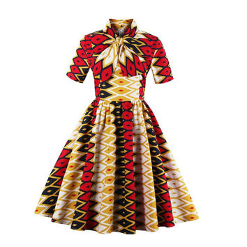 New Ladies Half Sleeve African Print Enthnic Dress 1950s Vintage Style Pin Up Dress New Year Party Dress