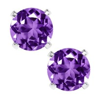 Sterling Silver Round Natural Purple Amethyst Women's Stud Earrings 6mm 1.50 Carat Total Weight