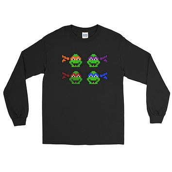 Ninja Turtles Perler Art Long Sleeve T-Shirt by Aubrey Silva