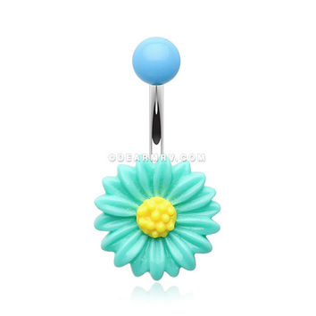 Adorable Daisy Belly Button Ring (Teal)